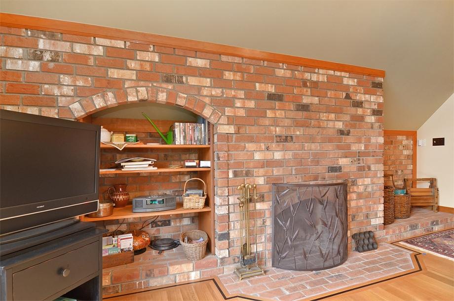 Brick wood-burning fireplace